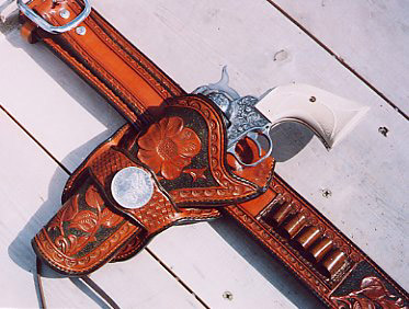 Western Floral Carving on Mexican loop holsters
